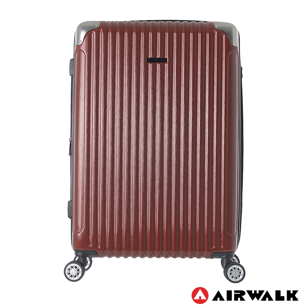 AIRWALK- 都市行旅28吋特光立體拉絲金屬護角輕質拉鍊行李箱 - 光采紅
