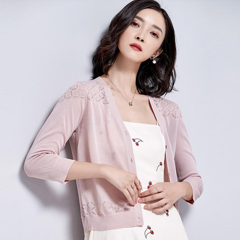 綻放  肩上鏤空細緻針織外套-共5色(M-XL可選)