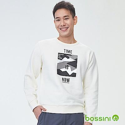 bossini男裝-印花厚棉運動衫09乳白