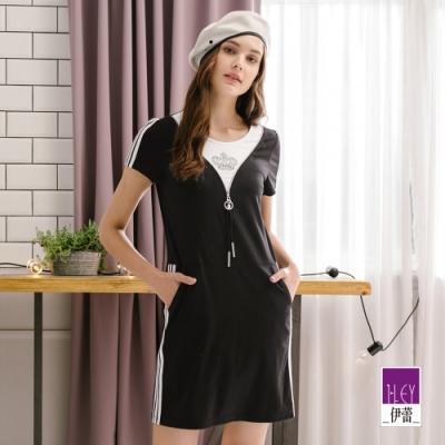 ILEY伊蕾 休閒運動風假兩件洋裝(黑)