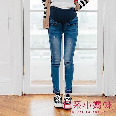 日系小媽咪孕婦裝-孕婦褲 褲管不修邊層次設計刷色牛仔褲 可調式瑜珈腰圍 S-XXL