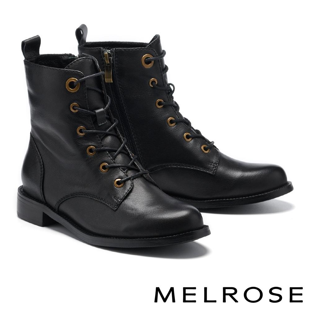 短靴 MELROSE 復古質感牛皮純色造型低跟短靴-黑