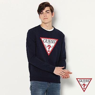 GUESS-男裝-純色字母倒三角LOGO長T-深藍