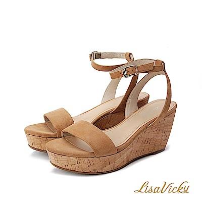 LisaVicky真皮厚底增高楔型涼鞋-駝色