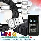 MINIQ 3.4A 大電流智慧型數字顯示3.4A雙孔旅充頭充電器+三隻小豬一出三充電線-120cm