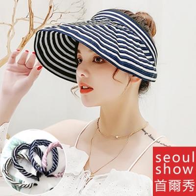 seoul show首爾秀 髮箍空頂軟絲折疊防曬遮陽帽