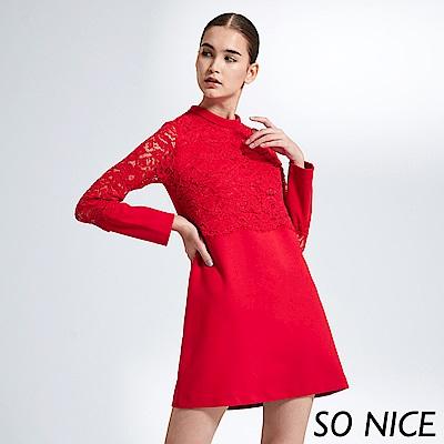 SO NICE熱情紅花朵蕾絲洋裝