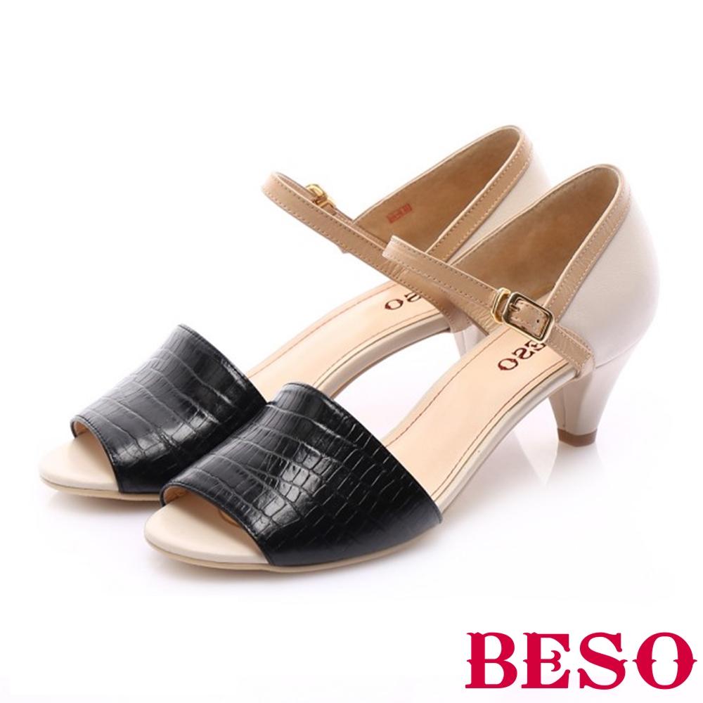 BESO 優雅簡約 壓紋牛皮繫踝帶魚口跟鞋~黑