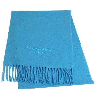 Aquascutum 高質感100%羊毛經典品牌字母LOGO刺繡圍巾(9色任選)