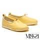 休閒鞋 MISS 21 舒適滿分圓滾抽繩設計全真皮厚底休閒鞋-黃 product thumbnail 1