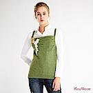 KeyWear奇威名品    精緻鉤花毛線背心-橄欖綠色