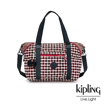 Kipling 紅褐火柴棒幾何圖騰手提側背包-ART
