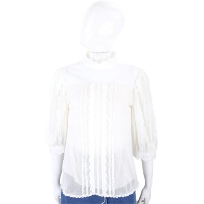 SEE BY CHLOE 米白色花苞袖花瓣荷葉壓摺上衣
