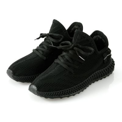 JMS-潮流風範透氣網布運動休閒鞋-黑色