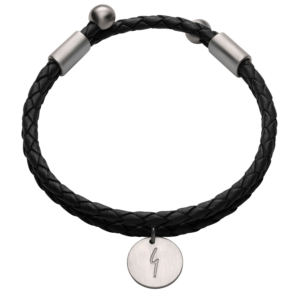agnes b. 反諷點g logo男性皮繩手環