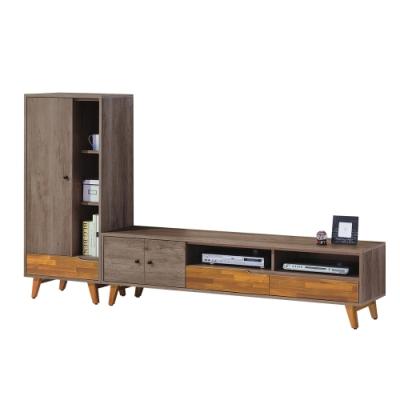 柏蒂家居-韋納8尺L型電視櫃組合(收納櫃+電視櫃)-240x38x134cm