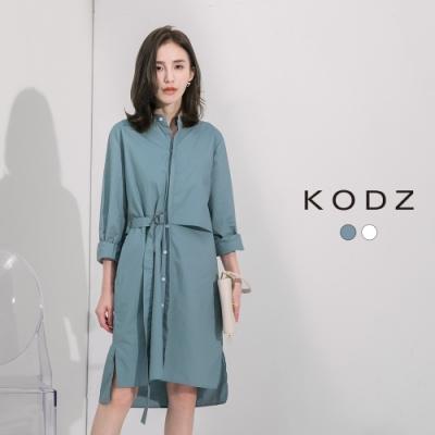 東京著衣-KODZ 率性簡約排釦長版罩衫外套-S.M.L(共二色)