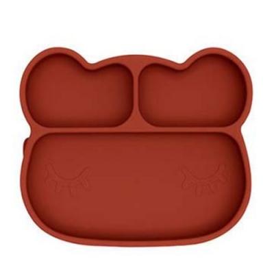 澳洲We Might Be Tiny 矽膠分隔餐盤熊寶寶-鐵鏽橘
