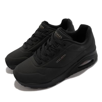 Skechers 休閒鞋 Uno Stand On Air 寬楦 女鞋 增高 半透明氣墊 靈活 支撐 緩震 黑 73690-WBBK