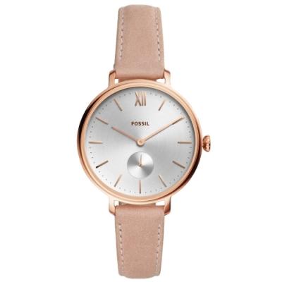 FOSSIL 典藏雅韻小秒針真皮腕錶(ES4572)-銀白/36mm