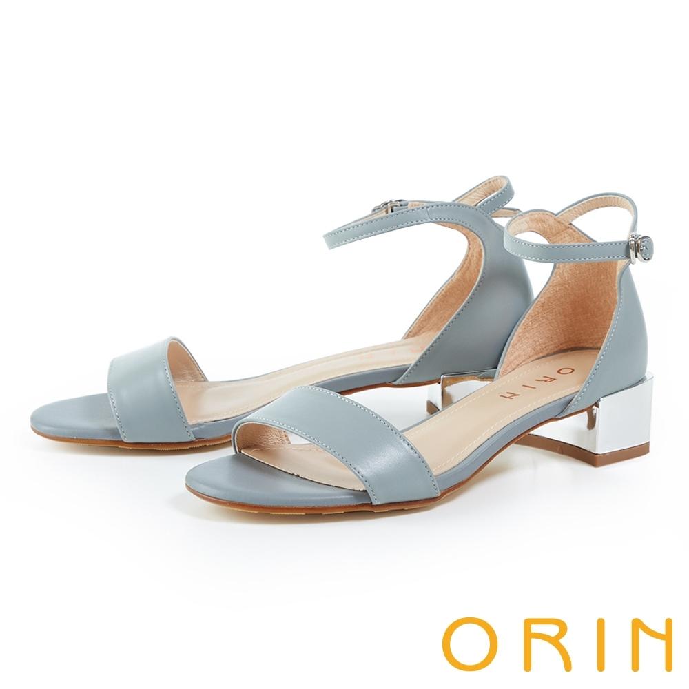 ORIN 一字繫踝繞帶後包真皮粗跟 女 涼鞋 淺藍