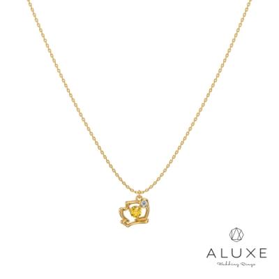 ALUXE亞立詩 小熊維尼 The Pooh系列10K黃水晶鑽石項鍊
