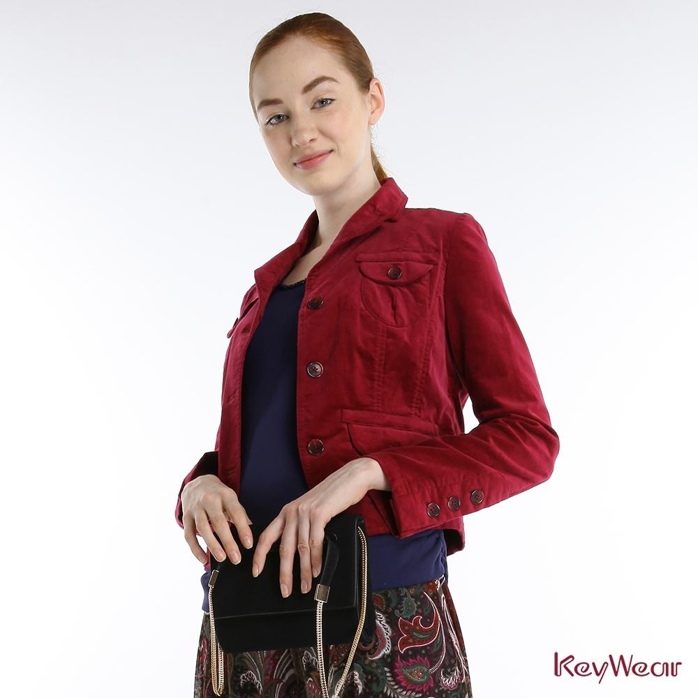 KeyWear奇威名品     古典絨布合身窄腰短版西裝外套-紫紅色