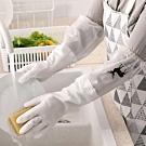 (3雙)EZlife束口加長加絨洗碗耐用手套(加贈瀝水架)