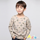 Azio Kids 男童 上衣 滿版彩色仙人掌盆栽長袖上衣 (可可)