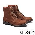 短靴 MISS 21 帥氣粗曠牛皮綁帶低跟短靴-咖