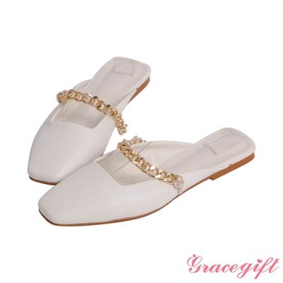 Grace gift-方頭鍊條平底穆勒鞋 白
