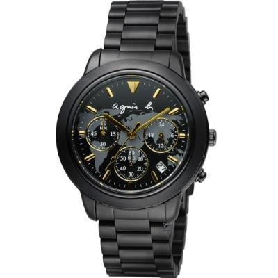 agnes b. 經典世界地圖時尚腕錶 BT3020X1 VD53-KQ00F-黑x金/40mm
