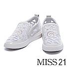 休閒鞋 MISS 21 異材質拼接透膚網布水鑽厚底休閒鞋-米白