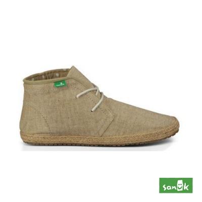 SANUK 女款US5 麻布內圓點短靴(米色)