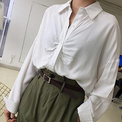 La Belleza前胸抓皺摺皺造型長版襯衫