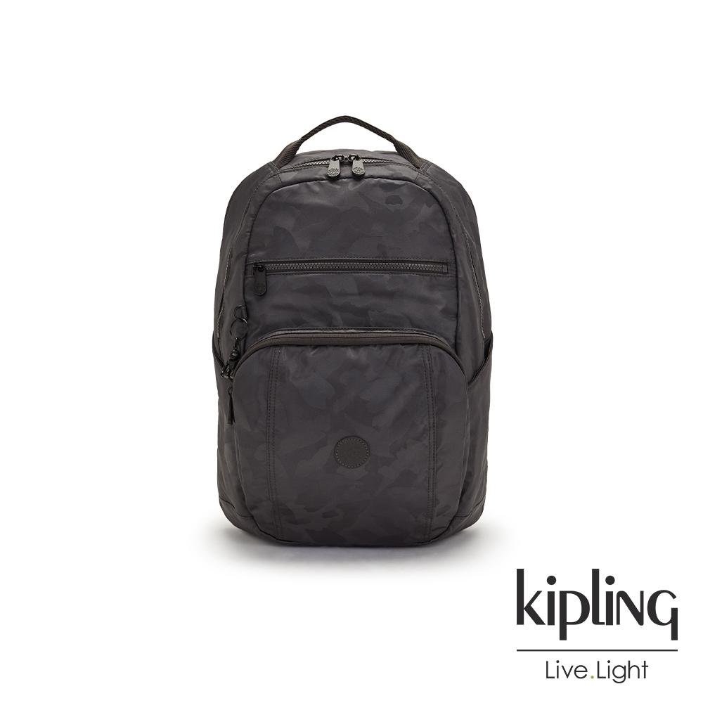 Kipling 黑茶佐率性迷彩前後雙層收納後背包-TROY