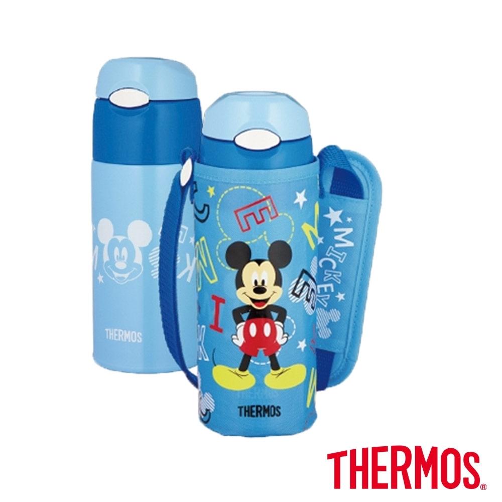 THERMOS膳魔師 不鏽鋼真空保冷瓶0.4L 兒童水壼-米奇(FHL-401FDS-BLS)