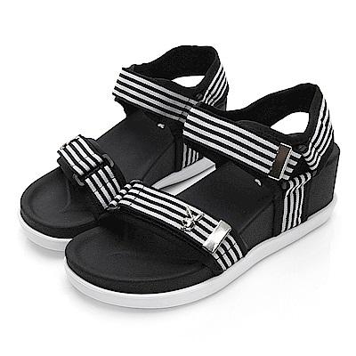 PLAYBOY 織帶魔鬼氈厚底涼鞋-黑白-Y5286C1