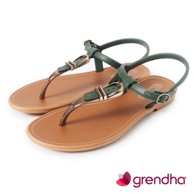 Grendha 金屬扣環T字帶平底涼鞋-綠色