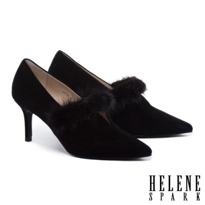 高跟鞋 HELENE SPARK 奢華暖感水貂毛V口全真皮尖頭高跟鞋-黑