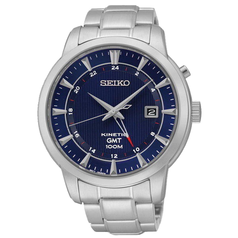 SEIKO 成長紳藍人動電能KINETIC男錶 (SUN031P1)-藍x43.5mm