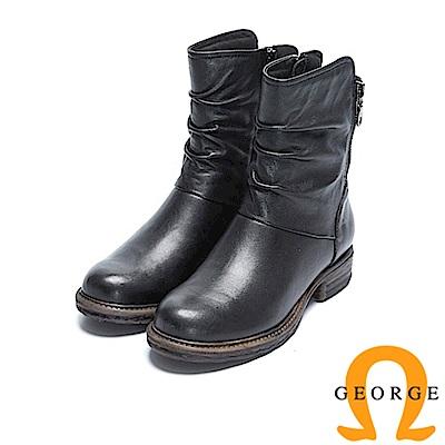 GEORGE 喬治-真皮拉鍊低跟率性短靴-黑