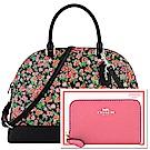 COACH 粉紅色花朵PVC手提/斜背兩用包-大型+莓紅色防刮皮革拉鍊名片夾/零錢包