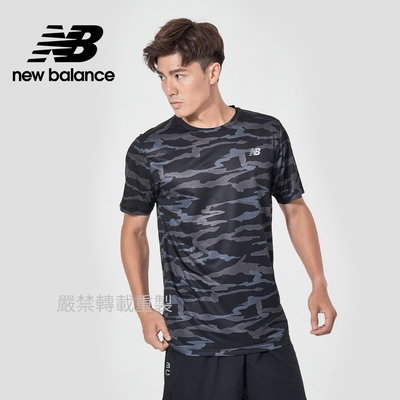 【New Balance】DRY運動短袖上衣_男性_黑迷彩_AMT03204CMO