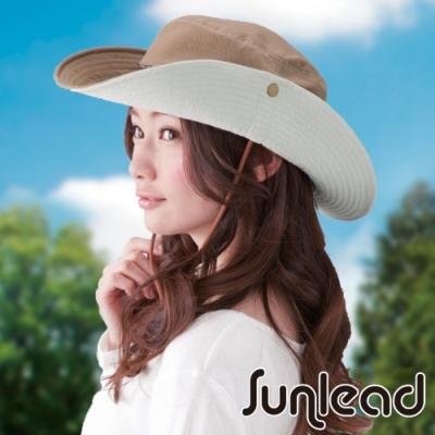Sunlead 防風吹落防曬寬緣透氣遮陽帽/登山帽 (駝色)