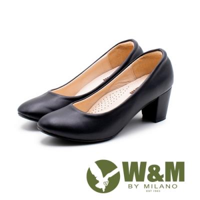 W&M 舒適上班族 尖頭中粗跟女鞋-黑