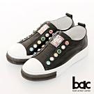 【bac】休閒享樂厚底寶石裝飾懶人休閒鞋-黑