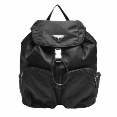 PRADA TESSUTO經典三角LOGO尼龍束口雙口袋造型後背包(黑)