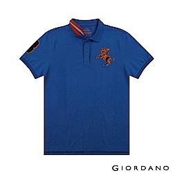 GIORDANO 男裝經典拿破崙撞色刺繡彈力萊卡POLO衫-04 青金石藍
