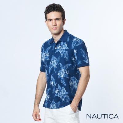 Nautica 夏季風格印花吸濕排汗短袖POLO衫-藍